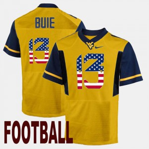 Men's US Flag Fashion Andrew Buie West Virginia Jersey Gold #13