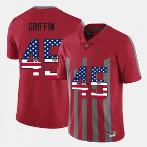 US Flag Fashion #45 Archie Griffin Ohio State Jersey Scarlet Mens