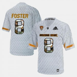 Mens D.J. Foster Arizona State Sun Devils Jersey Player Pictorial #8 White