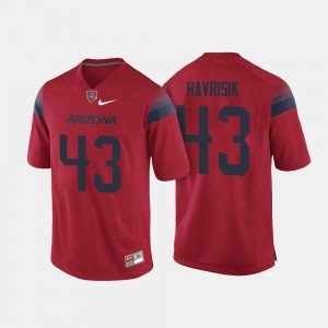 College Football #43 Red Lucas Havrisik Arizona Jersey For Men's