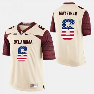 Mens Baker Mayfield Oklahoma Sooners Jersey US Flag Fashion #6 White