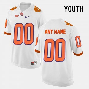 White Clemson University Custom Jersey Youth(Kids) #00 College Limited Football