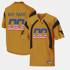 Men Gold US Flag Fashion #00 Mountaineers Customized Jersey