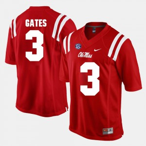 For Men's Alumni Football Game Red DeMarquis Gates Ole Miss Rebels Jersey #3