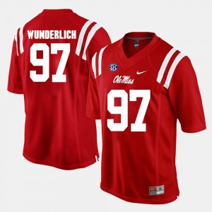 Gary Wunderlich Ole Miss Rebels Jersey For Men's #97 Red Alumni Football Game