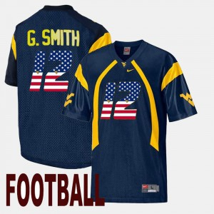 US Flag Fashion For Men's Geno Smith Mountaineers Jersey Navy #12