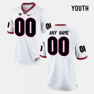 Georgia Bulldogs Custom Jersey College Limited Football For Kids White #00