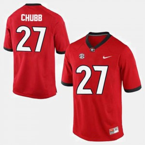 College Football Nick Chubb University of Georgia Jersey #27 For Men's Red