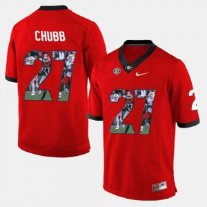 Nick Chubb UGA Jersey Red #27 For Men's Player Pictorial