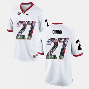 White #27 Player Pictorial Nick Chubb Georgia Jersey For Men's