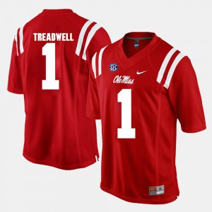 #1 Alumni Football Game Red For Men's Laquon Treadwell Ole Miss Jersey