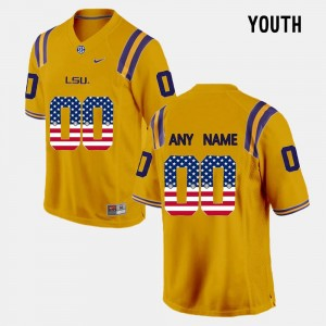 LSU Customized Jersey Gold US Flag Fashion For Kids #00