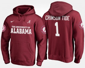 Name and Number Bama Hoodie No.1 Crimson #1 For Men
