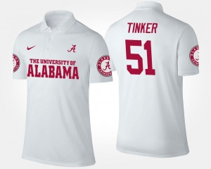 White Name and Number #51 Mens Carson Tinker Alabama Polo