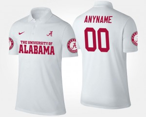 Name and Number Bama Custom Polo #00 For Men's White