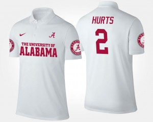 White Name and Number #2 For Men's Jalen Hurts Alabama Crimson Tide Polo