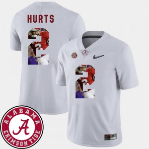 Football For Men White #2 Pictorial Fashion Jalen Hurts Bama Jersey
