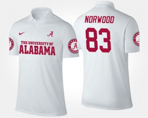 Kevin Norwood Alabama Polo White #83 Name and Number Men