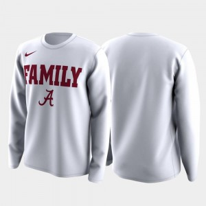 Mens White Bama T-Shirt Family on Court March Madness Legend Basketball Long Sleeve