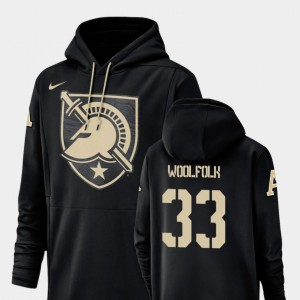 Champ Drive #33 Nike Football Performance Black Darnell Woolfolk United States Military Academy Hoodie For Men's