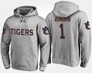 No.1 Gray Men's #1 Auburn Tigers Hoodie Name and Number