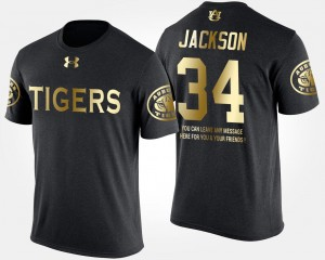 For Men Gold Limited Bo Jackson Auburn Tigers T-Shirt Short Sleeve With Message #34 Black
