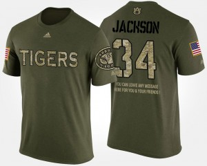 Military Men's Camo #34 Bo Jackson Tigers T-Shirt Short Sleeve With Message