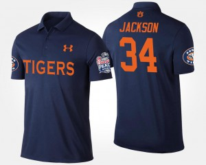 #34 Bowl Game For Men's Navy Peach Bowl Name and Number Bo Jackson Auburn Tigers Polo
