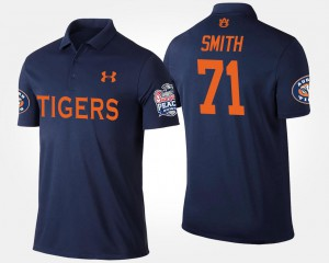 Braden Smith Tigers Polo #71 Navy Bowl Game Peach Bowl Name and Number Men