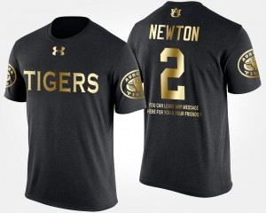 For Men Black Short Sleeve With Message Gold Limited Cam Newton Tigers T-Shirt #2
