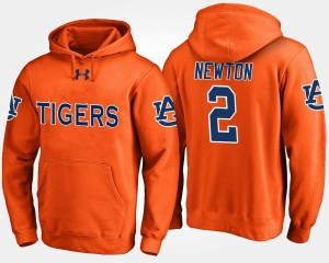 Orange Cam Newton Auburn Tigers Hoodie For Men's #2 Name and Number