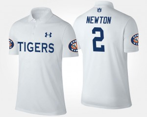 White #2 Cam Newton Tigers Polo Men's Name and Number