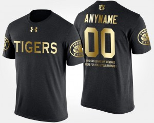 Men's Auburn Tigers Custom T-Shirts Short Sleeve With Message Gold Limited Black #00