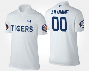 White #00 For Men's Name and Number Auburn University Customized Polo