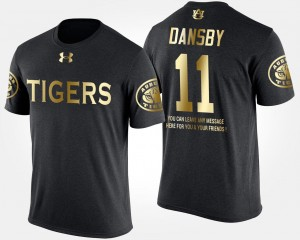 Mens Black #11 Karlos Dansby Auburn University T-Shirt Short Sleeve With Message Gold Limited