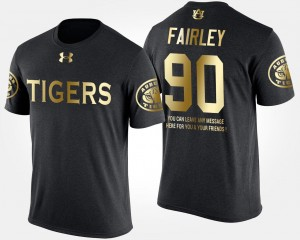 Black Short Sleeve With Message Nick Fairley AU T-Shirt Gold Limited For Men's #90