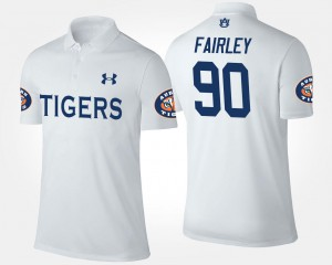 Nick Fairley Tigers Polo White Name and Number #90 Mens