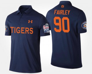 Peach Bowl Name and Number #90 Nick Fairley Auburn Polo For Men Navy Bowl Game