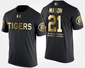 #21 For Men Black Short Sleeve With Message Tre Mason Tigers T-Shirt Gold Limited