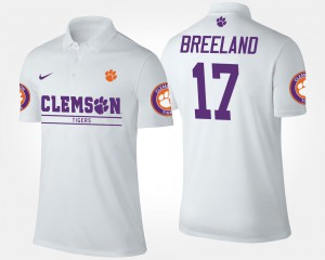 White Bashaud Breeland Clemson Polo #17 Name and Number For Men