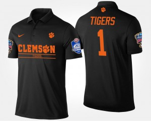 #1 For Men's Clemson Polo No.1 Atlantic Coast Conference Sugar Bowl Name and Number Bowl Game Black