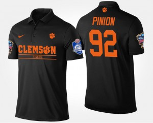 Bradley Pinion Clemson Tigers Polo Bowl Game #92 Black Men's Atlantic Coast Conference Sugar Bowl Name and Number