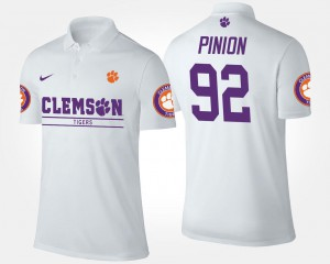 #92 Men Name and Number Bradley Pinion Clemson Tigers Polo White