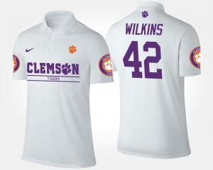 Name and Number Christian Wilkins Clemson Tigers Polo White Mens #42