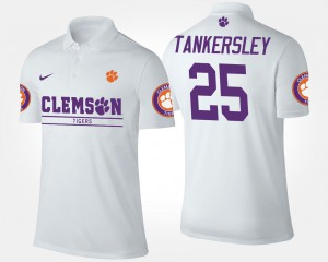 White Name and Number Cordrea Tankersley Clemson Polo Men's #25