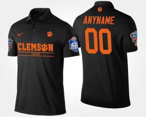 Clemson Tigers Customized Polo #00 Men's Black Atlantic Coast Conference Sugar Bowl Name and Number Bowl Game