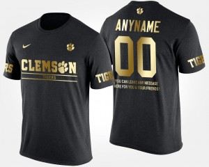 For Men Gold Limited #00 Short Sleeve With Message Clemson National Championship Customized T-Shirts Black