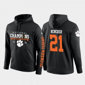 College Football Pullover 2018 National Champions Darien Rencher Clemson National Championship Hoodie #21 Men Black