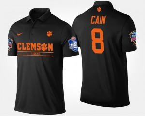 Men #8 Bowl Game Deon Cain Clemson National Championship Polo Black Atlantic Coast Conference Sugar Bowl Name and Number