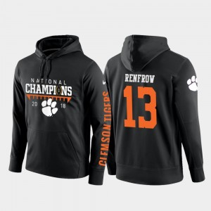 Hunter Renfrow CFP Champs Hoodie 2018 National Champions #13 Black For Men College Football Pullover